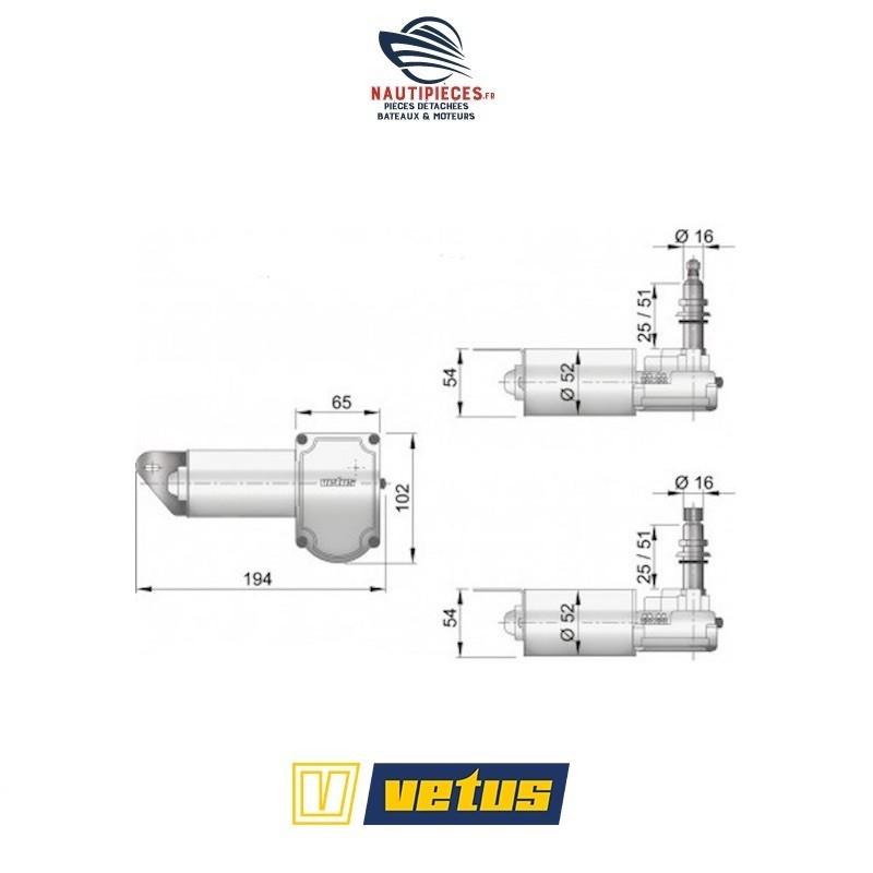 RW08A moteur essuie glace RW 12V VETUS EQUIPEMENT RW08S arbre 25 MM