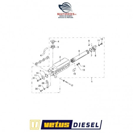 STM7558 joint coude échappement moteur VETUS DIESEL M4.15 M4.17