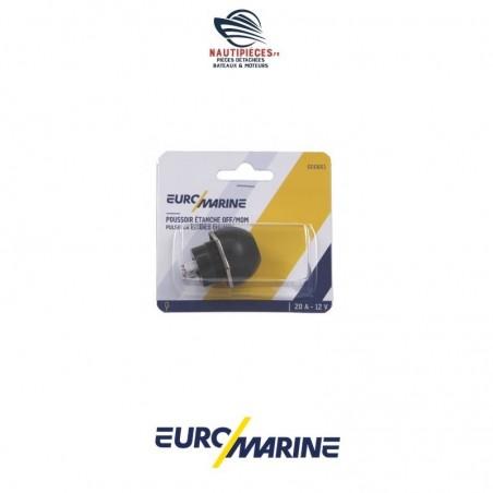000661 interrupteur à poussoir étanche 20A noir EUROMARINE OFF/MOM diamètre perçage 22mm