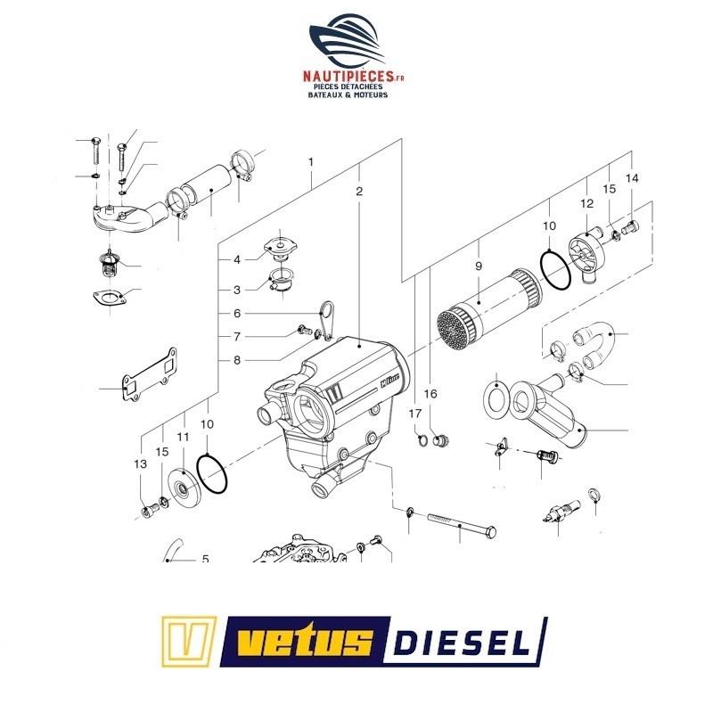 STM6142 échangeur complet moteur VETUS DIESEL M2.C5, M2.D5, M2.04, M2.06