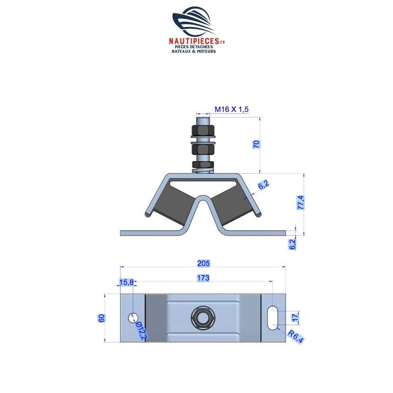 GS38121 support moteur silent bloc type V 150 KG YANMAR MARINE 129670-08340 129670-08341 121370-08351 121370-08350