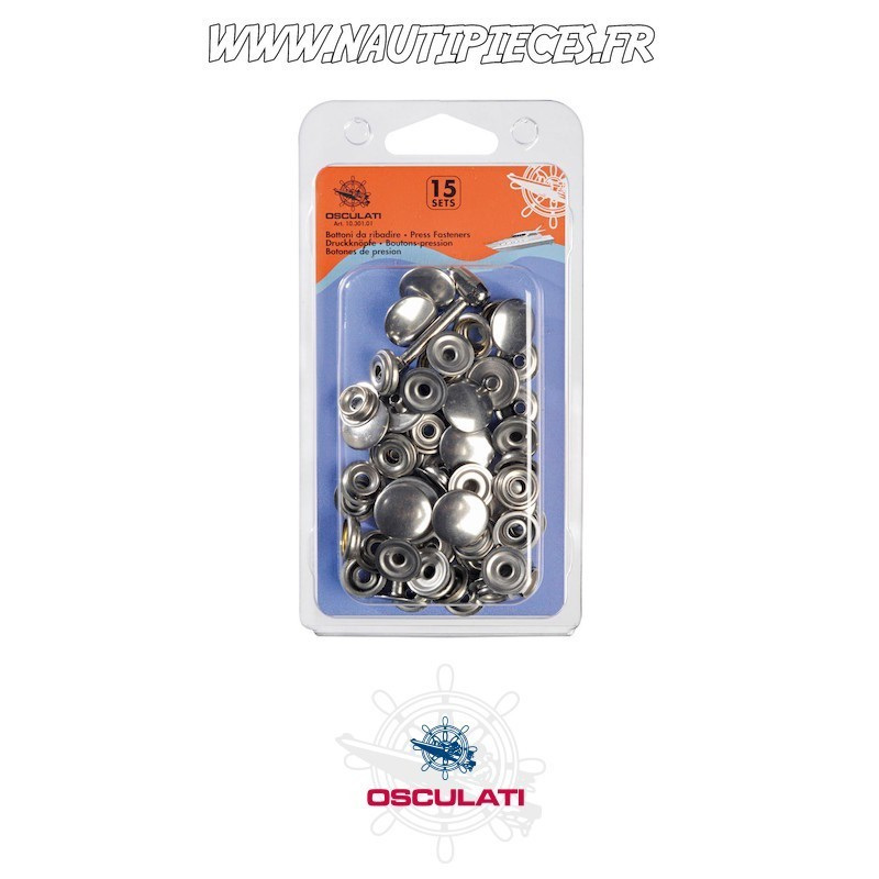 Lot 15 pressions inox avec outil OSCULATI 10.301.01