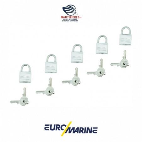 002627 Lot 5 cadenas inox laiton 30 mm EUROMARINE MARINOX avec 10 clés identiques