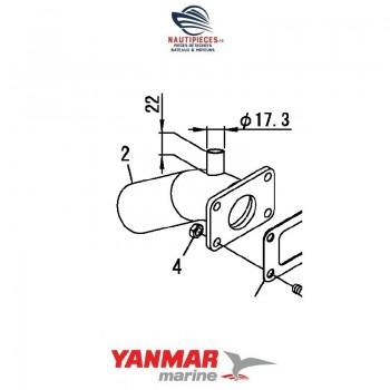 Coude echappement origine YANMAR MARINE 128370-13530 GM 4 VIS 128397-13530