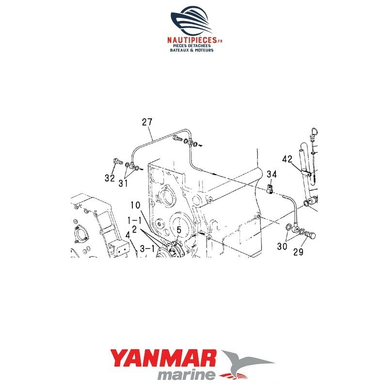 124465-39200 tuyau lubrification huile ORIGINE moteur YANMAR MARINE 2QM 2QM20