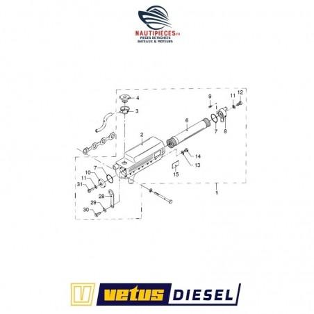 STM7552 collecteur échappement échangeur de température d'eau de refroidissement complet ORIGINE moteur VETUS DIESEL M4.55 M4.56